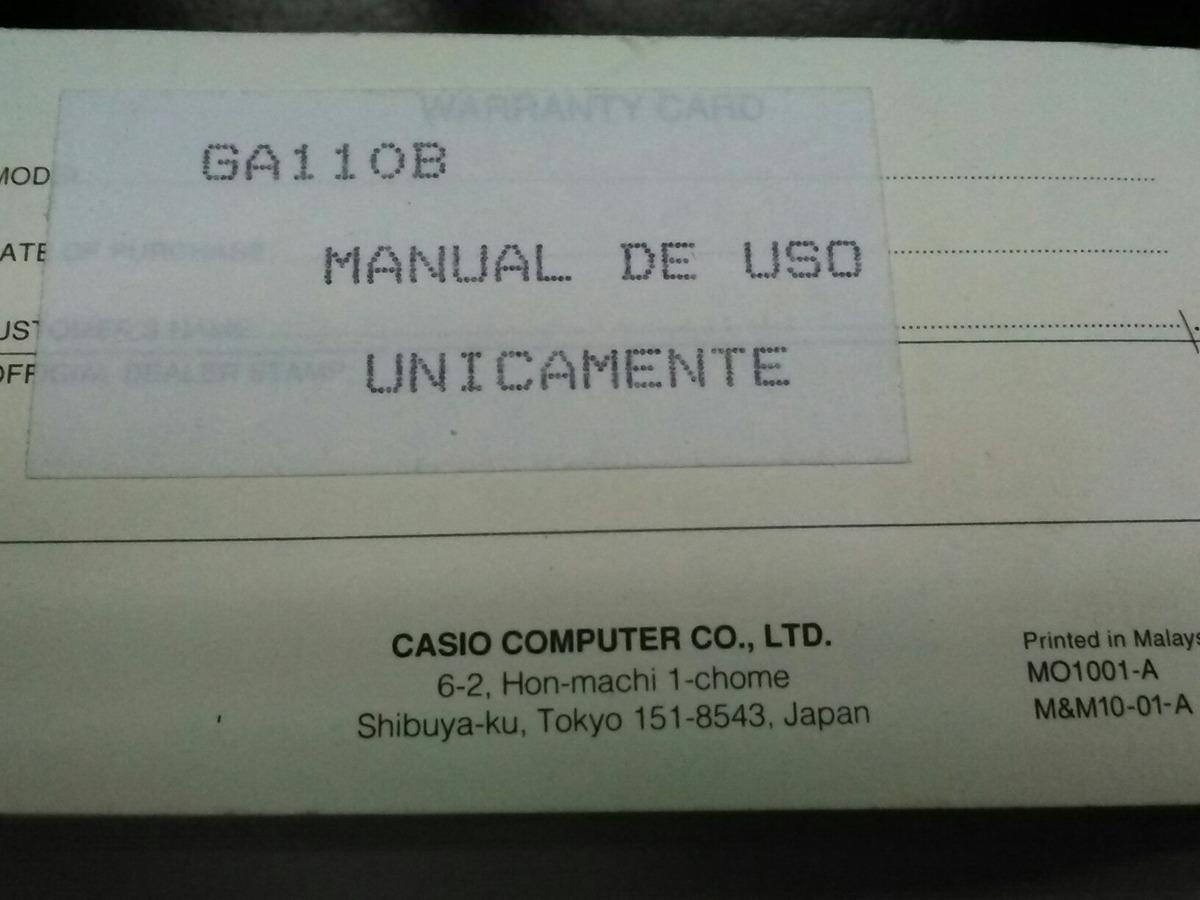 reloj casio g-shock ga-110 modulo 5146 manual del usuario. Cargando zoom.