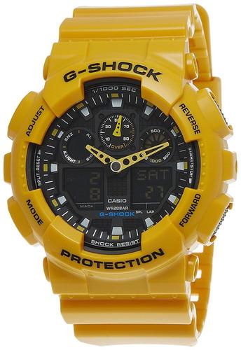 reloj casio g-shock ga100a-9a amarillo