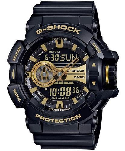 reloj casio g-shock serie garish  negro / dorado