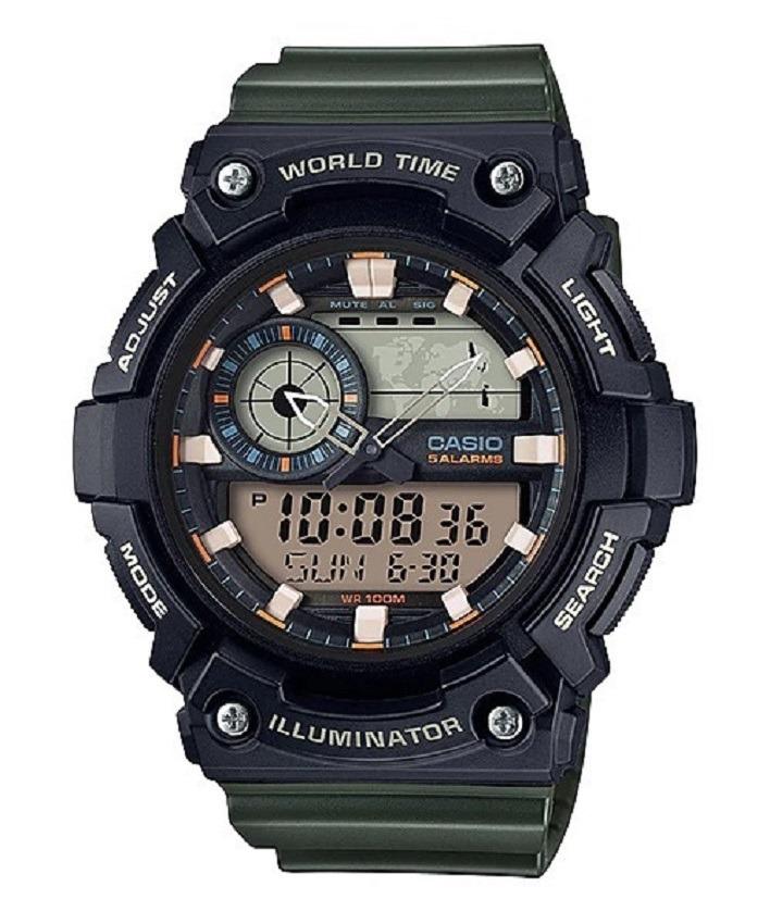 b3bf35169942 Reloj Casio Aeq-200w-3a Análogo digital Verde Para Hombre ...