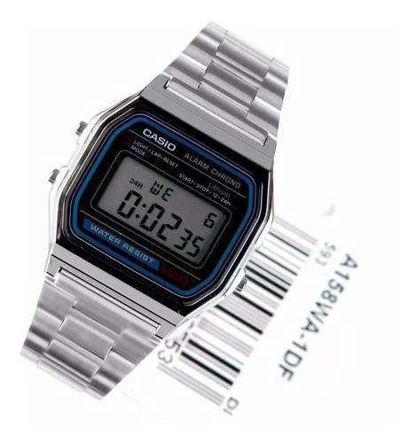 reloj casio hombre a-158wa-1 acero inoxidable con alarma led
