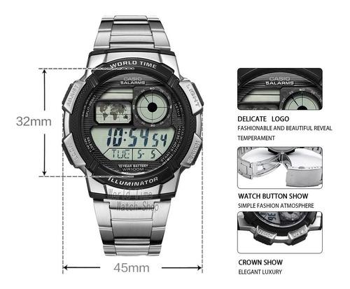 reloj casio hombre ae-1000wd-1a deportivo acero. ino
