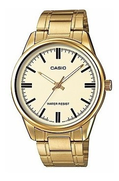 reloj casio hombre mtp-v005g-9a análogo con correa dorada
