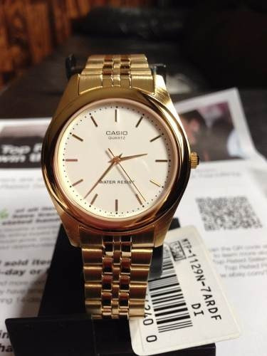 reloj casio hombre mtp1129n 7a dorado análogo