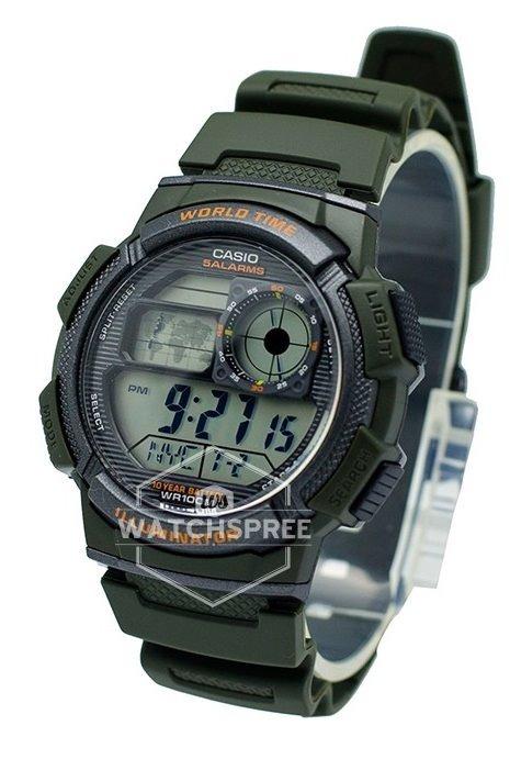Hombre Casio Ae Verde 3a 1000w Reloj Original 4q3LR5Aj