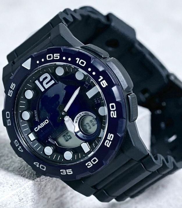 Reloj Casio Hombre,sumergible,wr100m,fondo Azul O Dorado