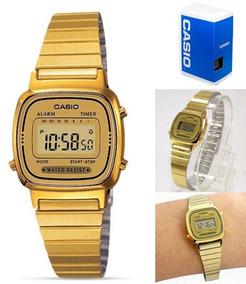 Reloj Casio La670 G9 Dorado Mujer Retro Mini Full