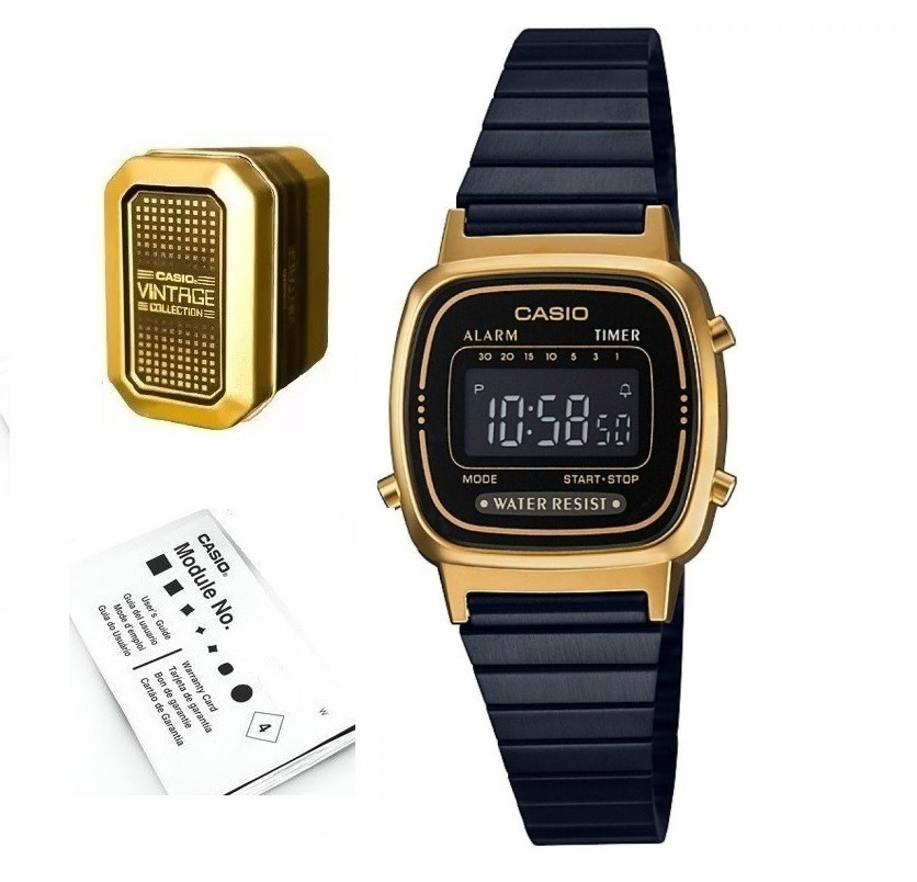 1615381dd3bf Reloj Casio La670 Negro Dorado Dama M S I Envio Gratis -   1