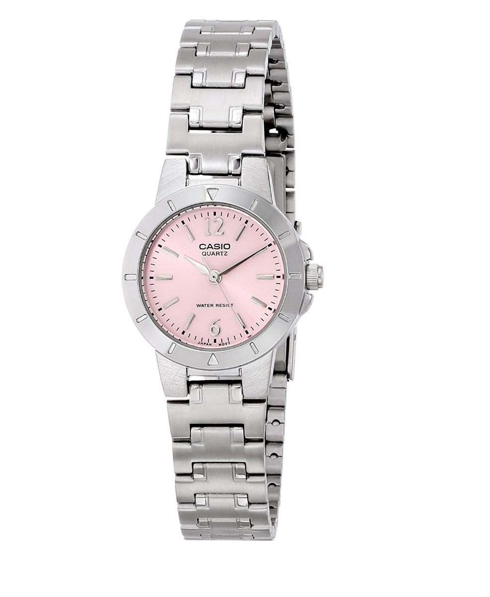 aff7382aff88 reloj casio ltp-1177a-4a1d plateado pantalla rosa para dama. Cargando zoom.