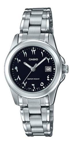 reloj casio ltp-1215a-1b3 para dama plateado n. arabes