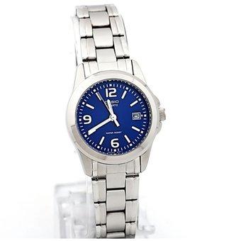 9921573c6280 Reloj Casio Ltp 1215a 2a - Plateado Fondo Azul Para Mujer ...
