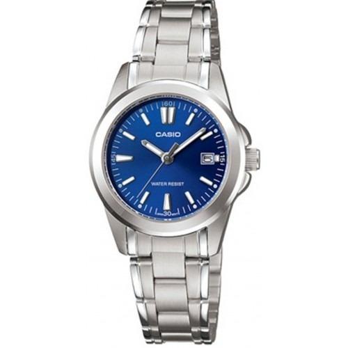 b7a48db36941 Reloj Casio Ltp-1215a-2a2 Plateado Fondo Azul Para Mujer -   79.900 ...