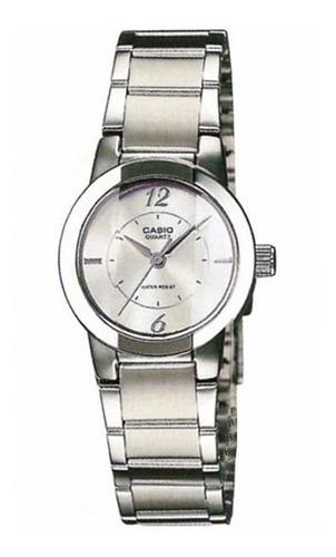 reloj casio ltp-1230d-7c para dama plateado pulcera en acero