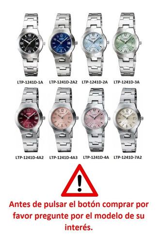 reloj casio ltp-1241d mujer acero original garantizado