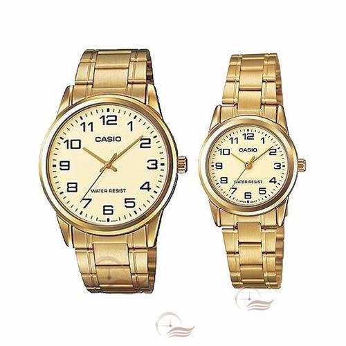 reloj casio ltp v001 g analogo dorado 100% original mujer