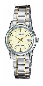 reloj casio ltp-v002sg-9a acero inoxidable pantalla de fecha