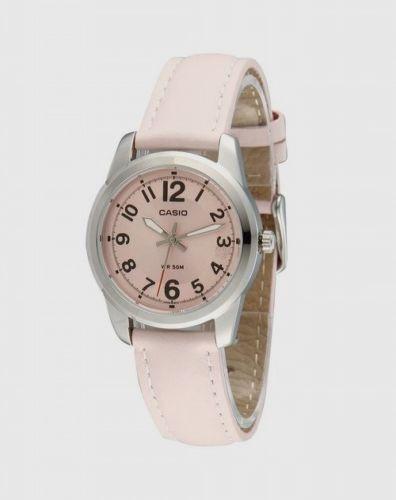 reloj casio ltp1315l-5b ladies 50m pink genuine leather dres
