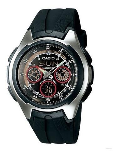 reloj casio men's casual dress aq163w-1b2v black resin quart