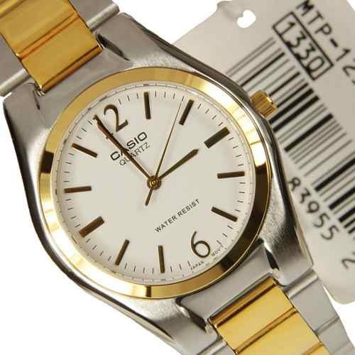 reloj casio mtp-1253sg 7a 9a análogo+con correa de acero