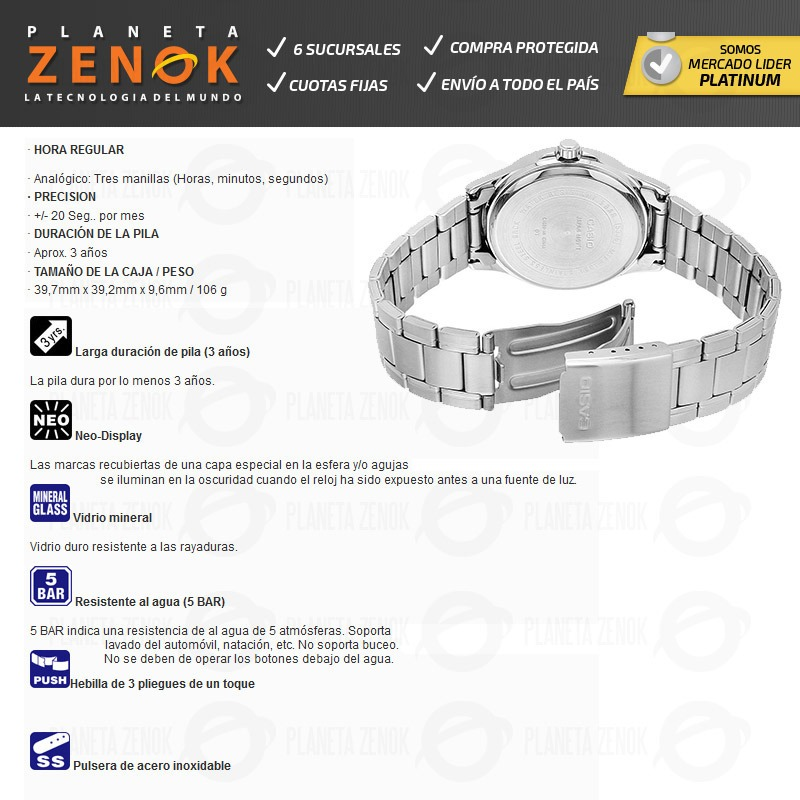 87e75b80e3ed Reloj Casio Mtp-1381d Acero Inoxidable Fecha Dia 50m Wr -   4.149