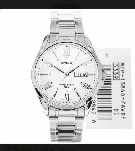 reloj casio mtp-1384d acero hombre wr100 / igual a nuevo