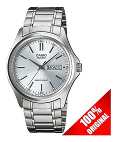 Reloj Casio Mtp1239 Blanco Estilo Clásico Doble Fechador