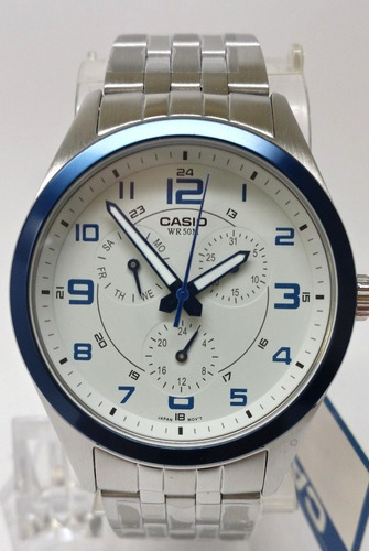 reloj casio mtp1352d-8b1 hombre stainless steel dress white