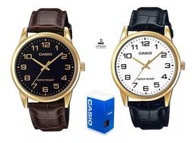 Reloj Casio Mtpv001 Hombre Correa Piel *watchsalas* Full