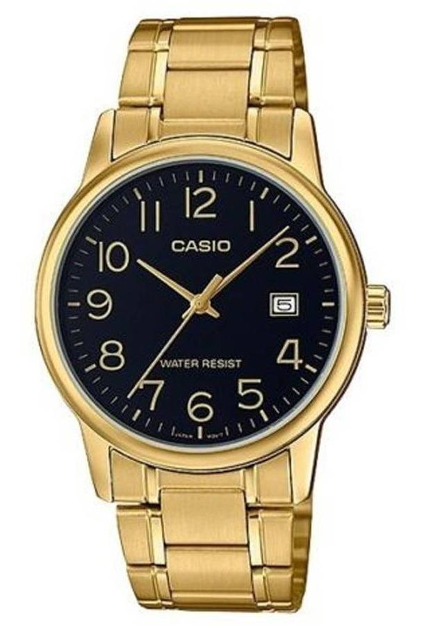 Reloj Casio Mtpv002 Dorado Acero Cristal Mineral Fechador
