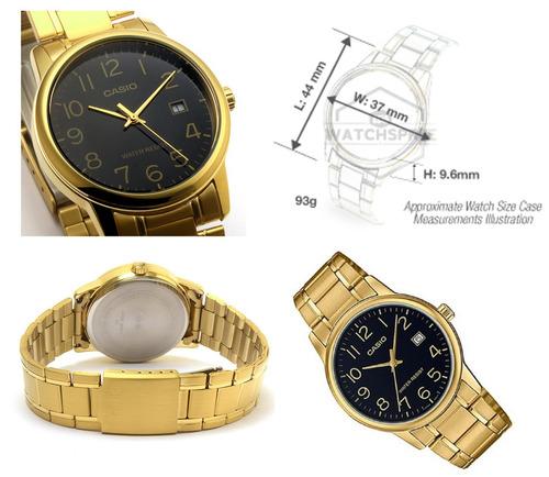 reloj casio mtpv002 g1b hombre dorado negro fechador full