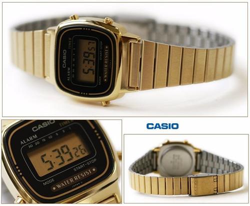 reloj casio mujer  dorado la 670 original!!!