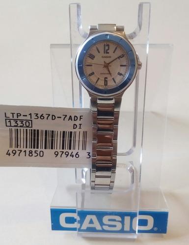 reloj casio original acero nuevo de  dama  ltp-1367d-7adf
