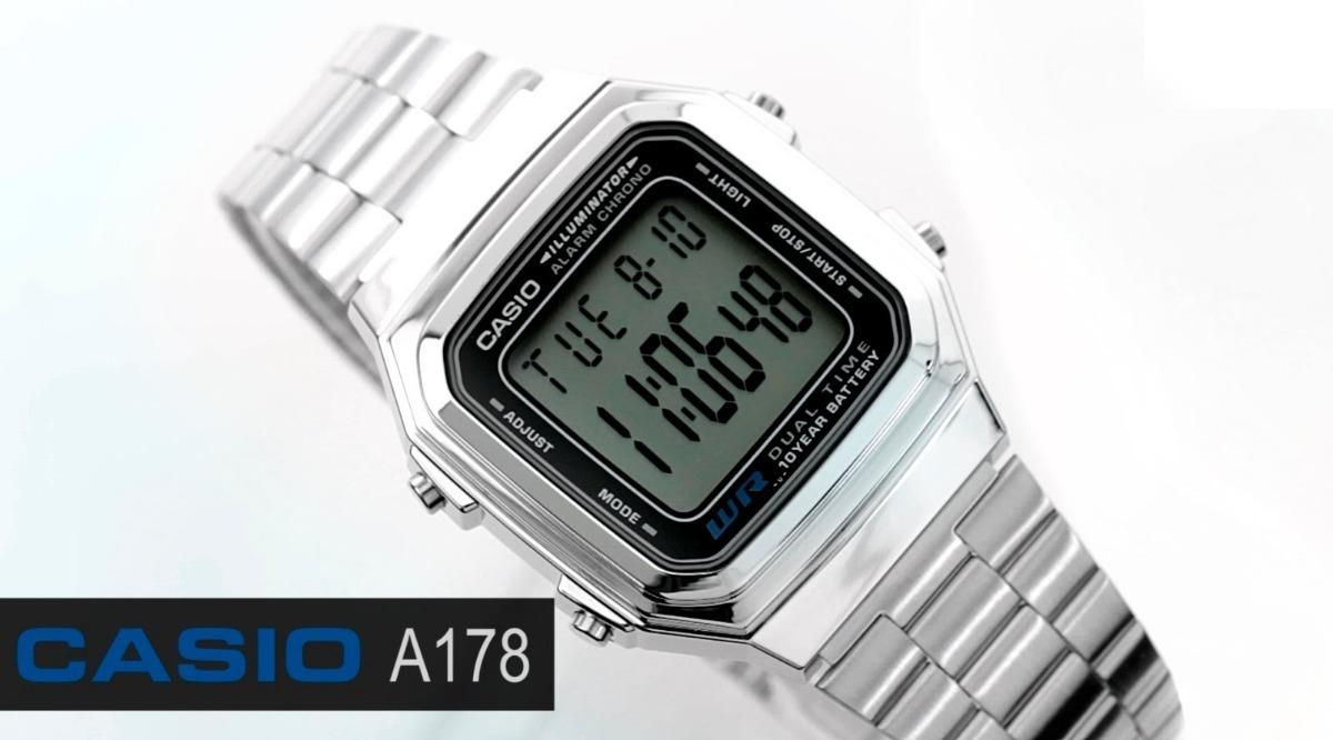 0f0648ee0465 reloj casio original digital nuevo acero caballero a178w-1a. Cargando zoom.