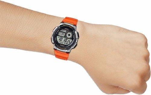 reloj casio para caballero ae-1000w-4b color naranja