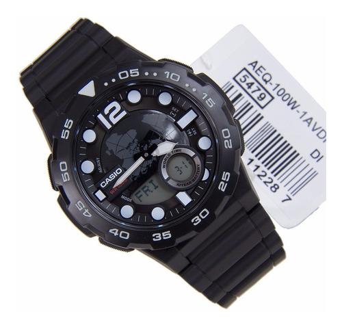 reloj casio para caballero aeq-100w 1a negro/blanco