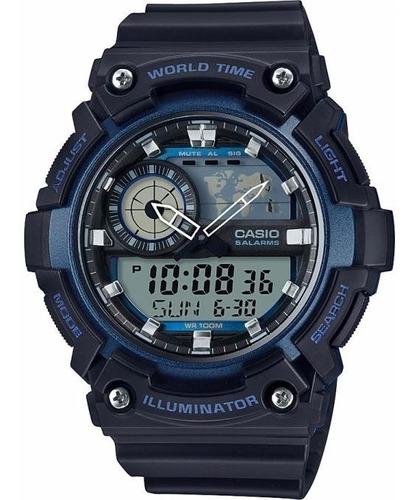 reloj casio para caballero aeq-200w-2a color azul