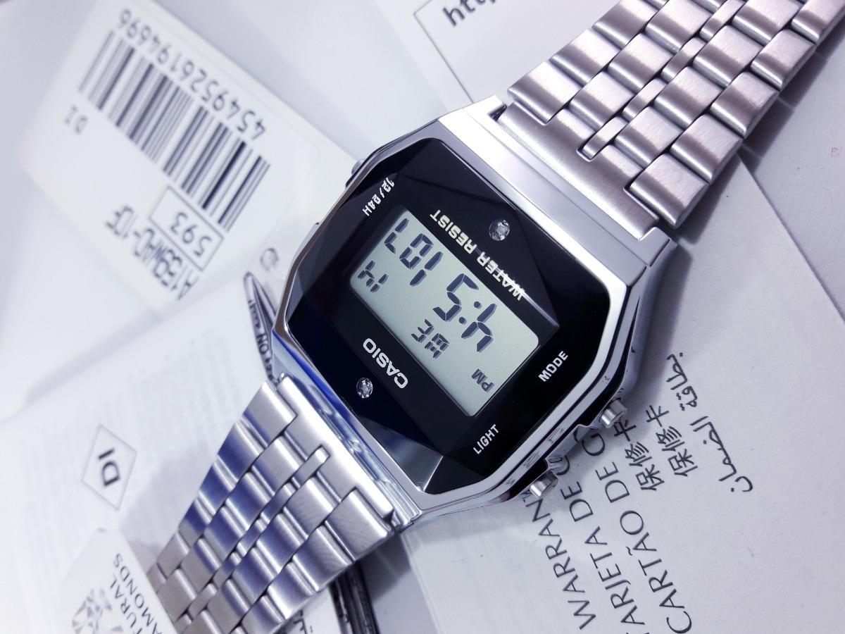 27da04bcc6a8 reloj casio plata a159w diamantes naturales original japon. Cargando zoom.