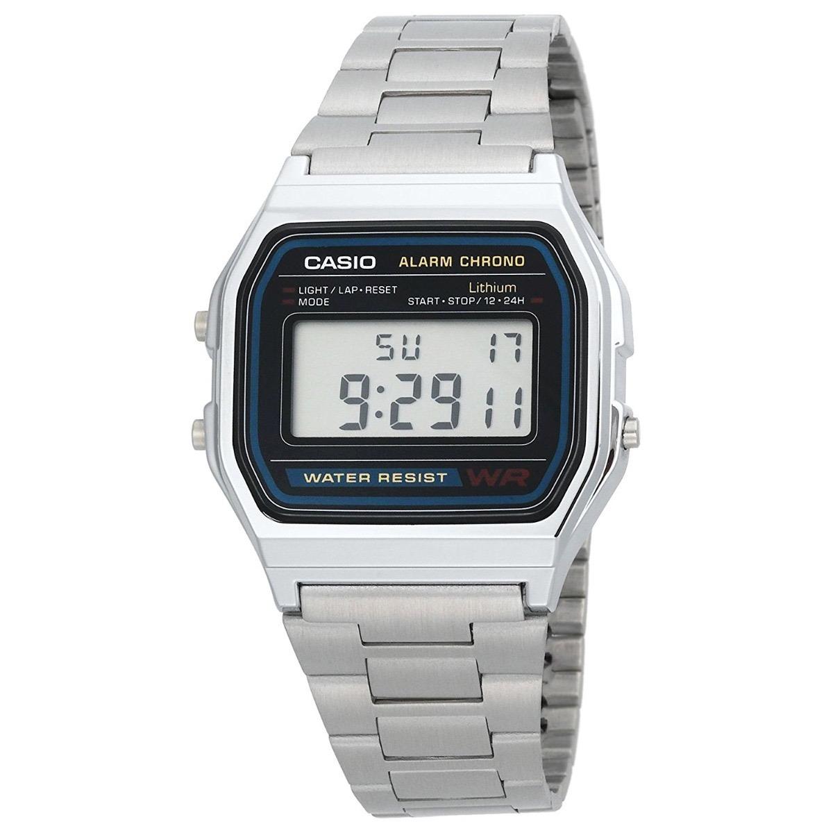 69a3d3b8b18d Reloj Casio A-158wa-1df Retro Pulso Metálico Plata Digital ...