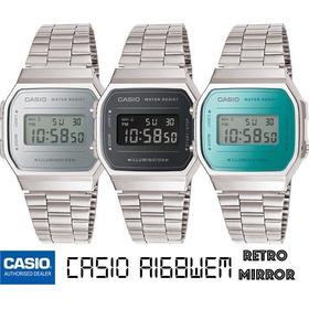 Reloj Casio Retro A168 Plata Nuevo - Luz Azul 100% Original