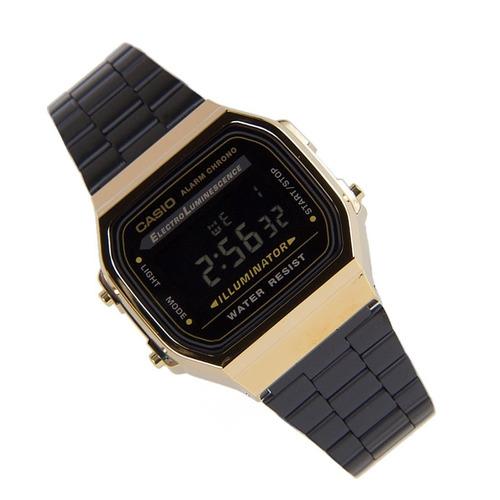 reloj casio retro a168wegb 1b negro  new unisex
