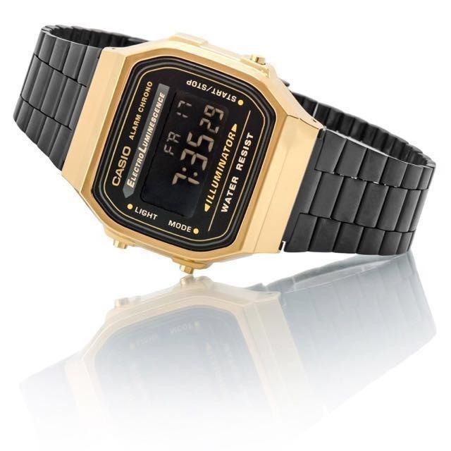 2519f0ad051f Reloj Casio Retro A168wegb-1b Negro Y Dorado Envío Gratis ...