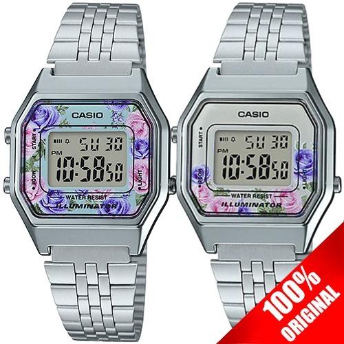 e43f136b173f Reloj Casio Retro Dama La680 Plata Flores - 100% Original -   739.00 ...