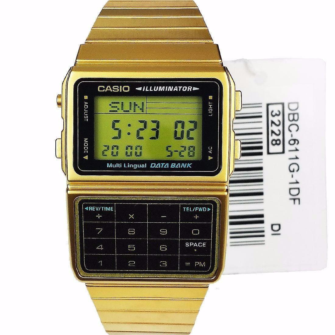 b3a8c83cdef4 reloj casio retro dbc 611 dorado data bank 25 memorias luz. Cargando zoom.