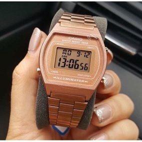 reloj casio retro digital oro rosa t b640