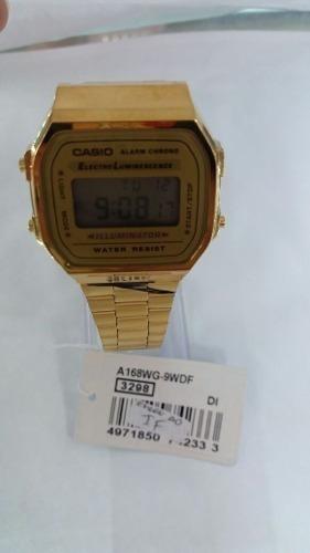62f491095ce3 Reloj Casio Retro Dorado Clasico Unisex A168wg-9wdf Original ...