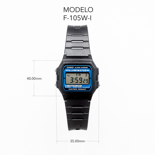 reloj casio retro illuminator f-105w envio gratis |watchito|