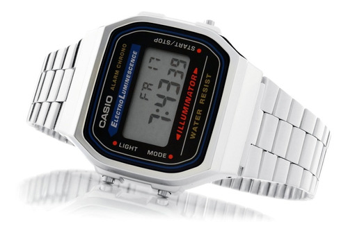 reloj casio retro vintage a168 plata original envío gratis