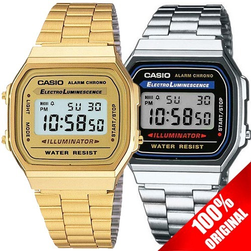 Reloj Casio Retro Vintage Clásico A168 + A168 Dorado Pareja ... 1b372b2dfad7