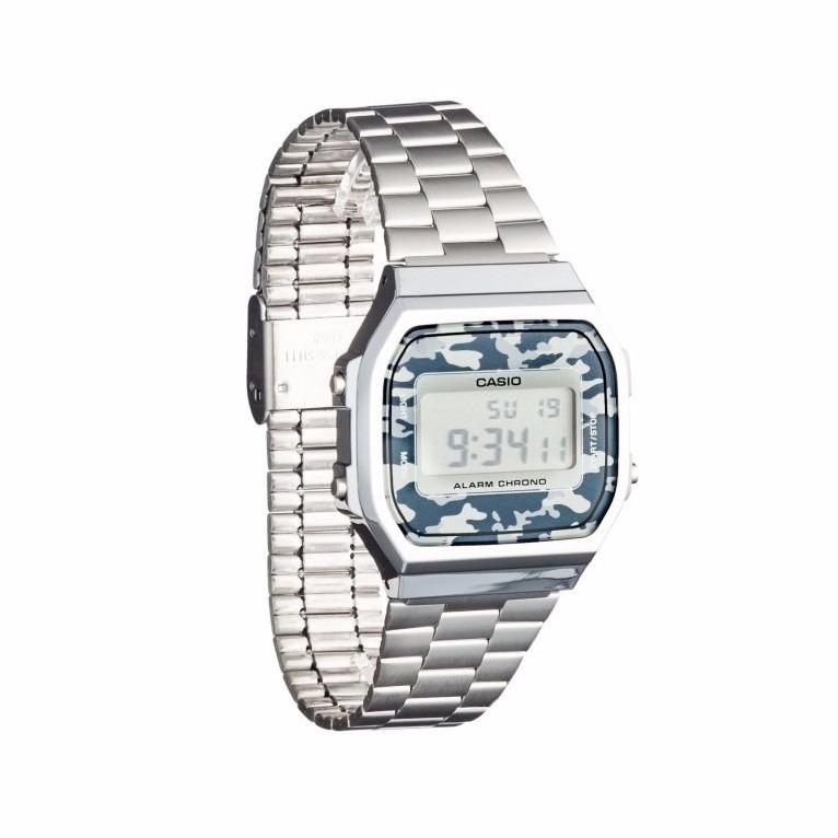 7b6f08fc4266 Reloj Casio Retro Vintage Plateado Camuflaje Mod. A168we ...