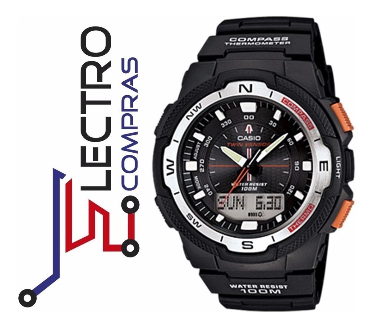 Reloj 1b Termometro Brujula 100m 500h Casio Sgw 4AL5c3Rjq